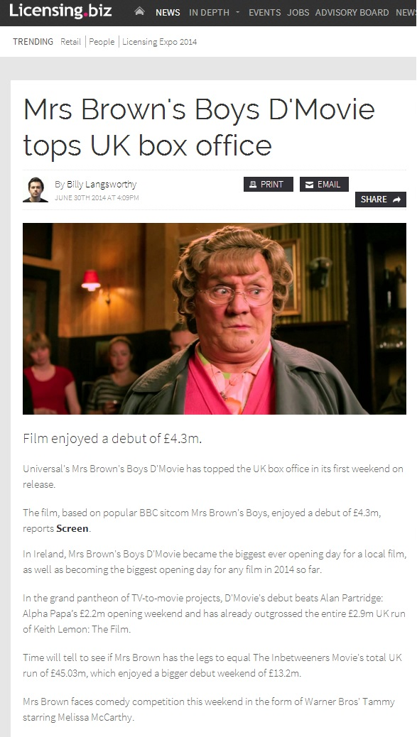 licensing biz mrs browns boys dmovie