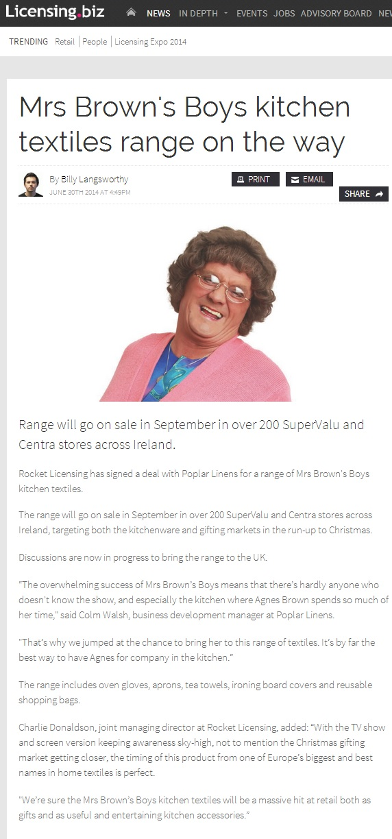 mrs browns boy kitchen range licensing biz